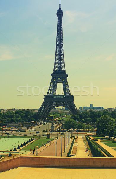 Retro turné Eiffel Párizs Franciaország hatás Stock fotó © naffarts