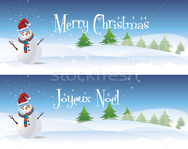 Snowman Banners Stock photo © naffarts