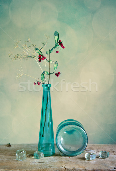 Verre vase rouge baies still life lumière Photo stock © nailiaschwarz