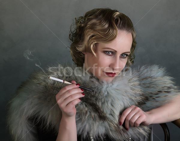 Rétro portrait femme 1920 style Photo stock © nailiaschwarz