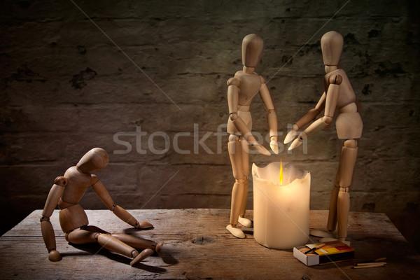 Sin hogar munecas mano fuego enfermos Foto stock © nailiaschwarz