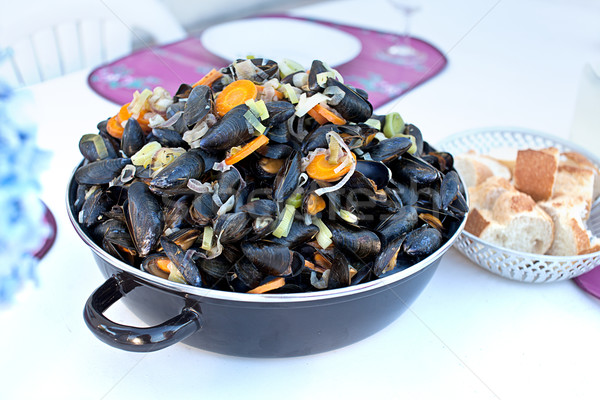 Cooked french bouchot mussels Stock photo © nailiaschwarz
