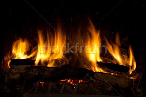 Kandalló égő izzó darabok fa fém Stock fotó © nailiaschwarz