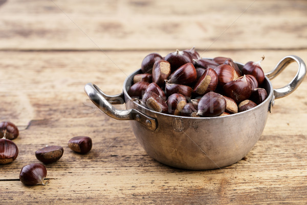 Chestnuts in Cooking Pot Stock photo © nailiaschwarz