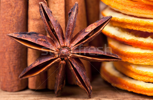 Turuncu tarçın anason kurutulmuş gıda Stok fotoğraf © nailiaschwarz
