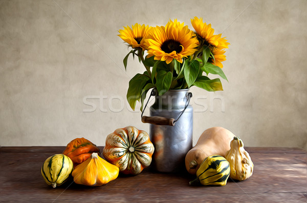 Pumpkins and Sunflowers Painting Stock photo © nailiaschwarz