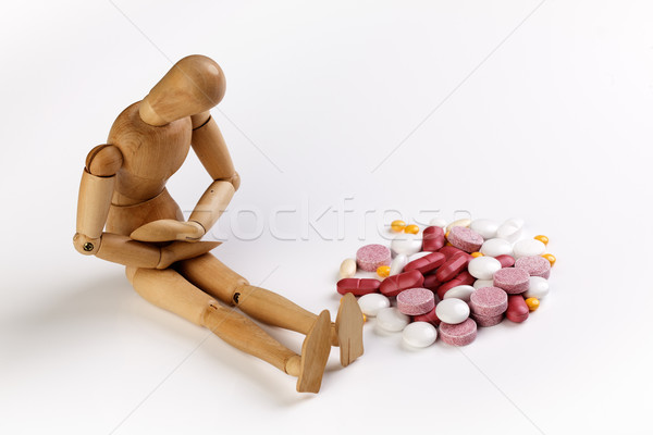 Maladie malade marionnette estomac coloré Photo stock © nailiaschwarz