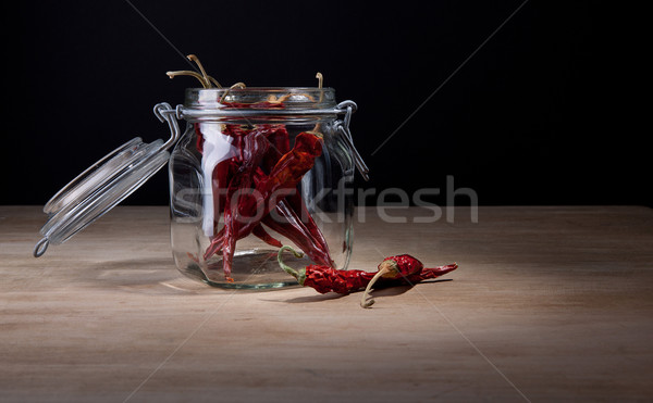 Dried hot red chillies in glass jar