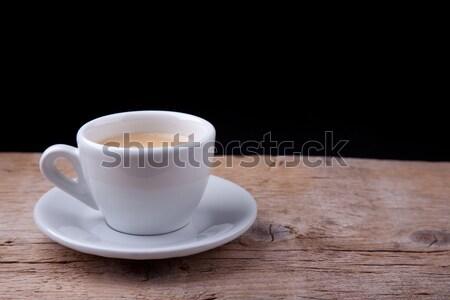 Forró kávé fehér csésze fa asztal tányér Stock fotó © nailiaschwarz