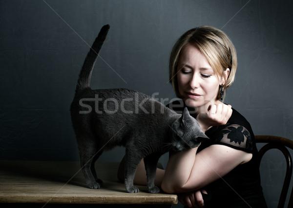Woman and Cat Stock photo © nailiaschwarz