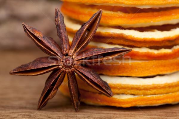 Dilimleri kurutulmuş turuncu anason star gıda Stok fotoğraf © nailiaschwarz