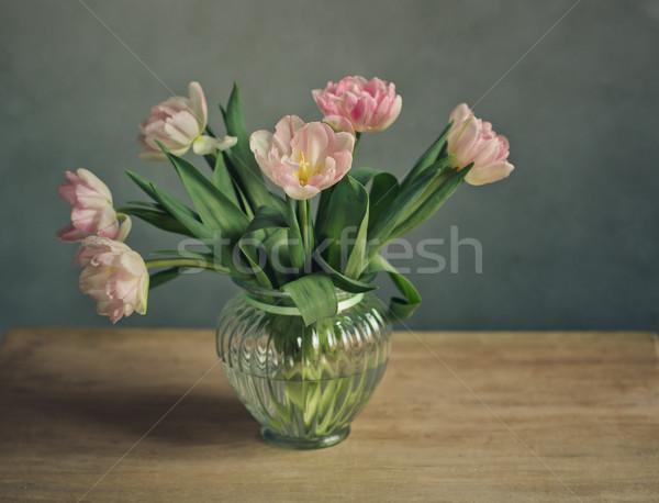 Rosa tulipas buquê belo pastel Foto stock © nailiaschwarz