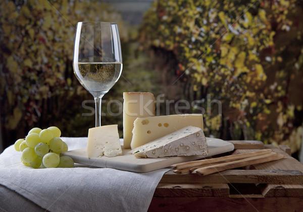 Foto stock: Queijo · vinho · três · francês · vidro · vinho · branco