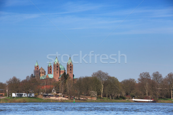Rhine and Cathedral at Speyer Stock photo © nailiaschwarz