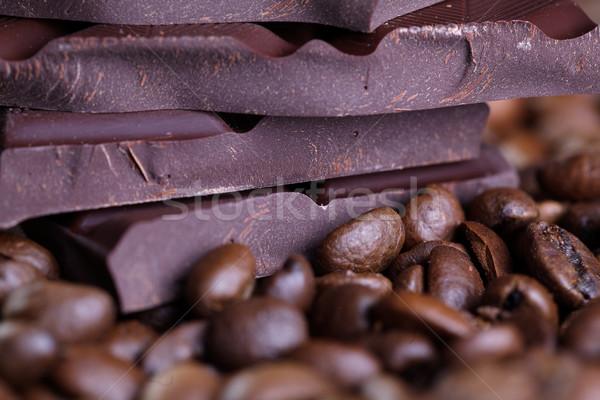 Kávé csokoládé friss pörkölt kávé boglya Stock fotó © nailiaschwarz