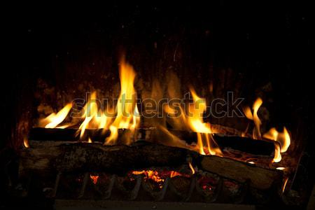 şömine yanan parçalar ahşap Metal Stok fotoğraf © nailiaschwarz