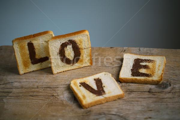 焼いた 愛 トースト パン 言葉 描いた ストックフォト © nailiaschwarz