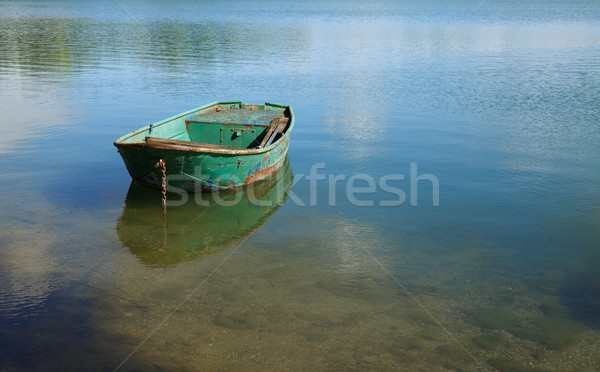 Csónak tó kilátás tükör higgadt öreg Stock fotó © nailiaschwarz