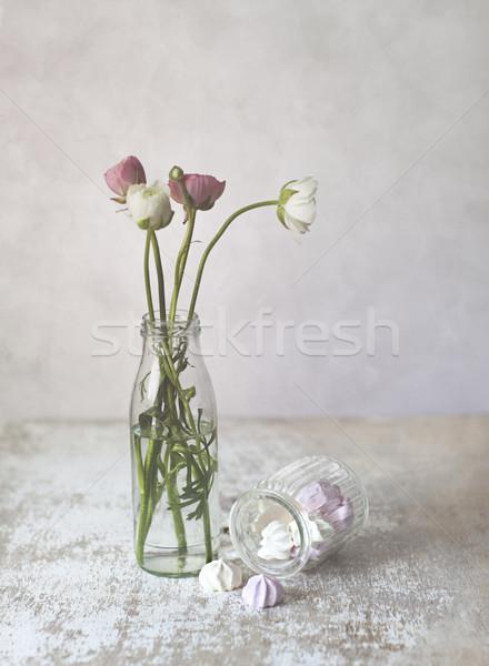 Virágok stúdió csendélet gyönyörű étel szeretet Stock fotó © nailiaschwarz
