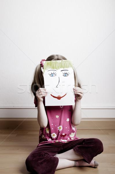 Cara feliz pequeño ninas máscara Foto stock © nailiaschwarz