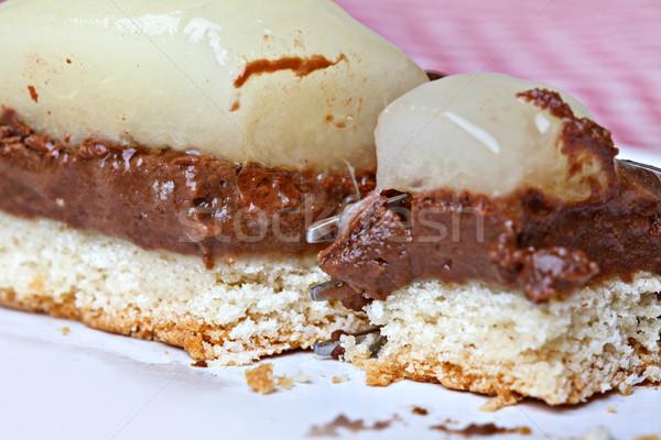 Half fruitcake stuk doek vruchten Stockfoto © nailiaschwarz