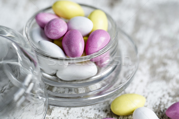 Snoep kom heldere roze Geel witte Stockfoto © nailiaschwarz