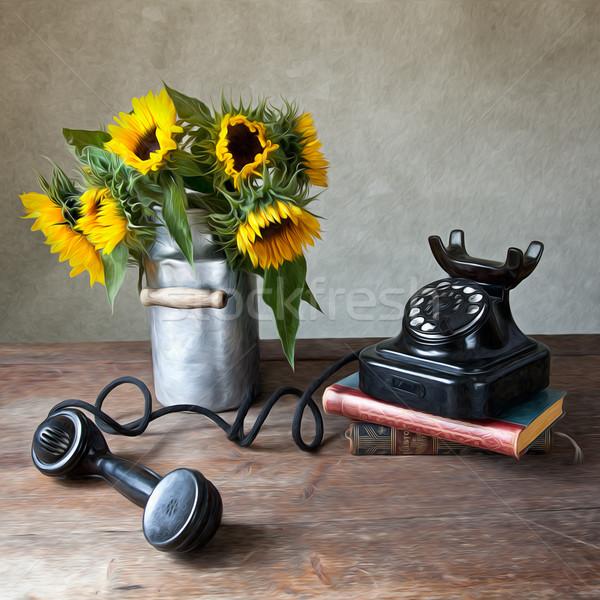 Sunflowers and Phone Stock photo © nailiaschwarz