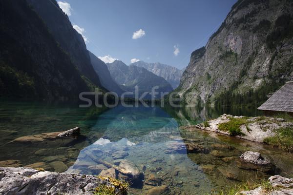 Fölött tó égbolt nap hegy kék Stock fotó © nailiaschwarz
