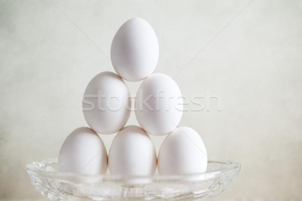 卵 ピラミッド 静物 新鮮な 白 鶏 ストックフォト © nailiaschwarz