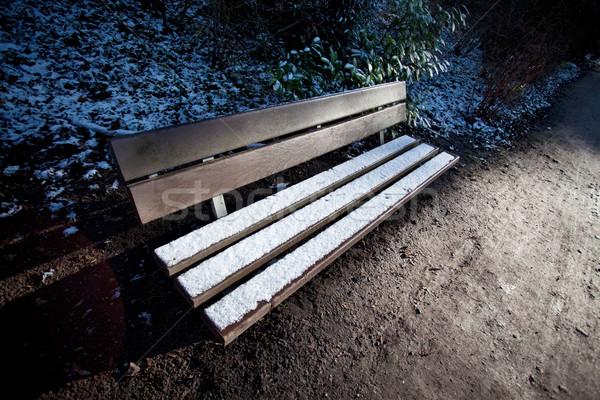 скамейке снега зима покрытый первый природы Сток-фото © nailiaschwarz