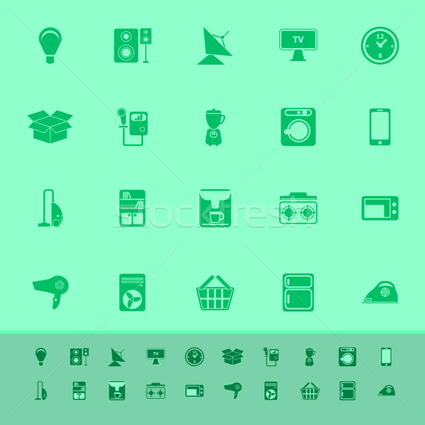 Home related color icons on green background Stock photo © nalinratphi