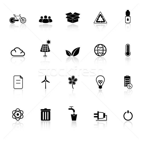 Ecología iconos blanco stock vector cuadro Foto stock © nalinratphi