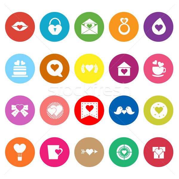 Corazón elemento iconos blanco stock vector Foto stock © nalinratphi