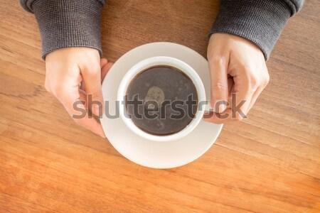 Eller fincan sıcak kahve stok Stok fotoğraf © nalinratphi