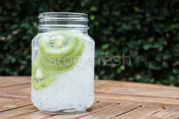 Foto stock: Vidro · gelado · kiwi · soda · beber