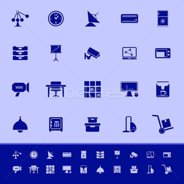 Algemeen kantoor kleur iconen Blauw voorraad Stockfoto © nalinratphi