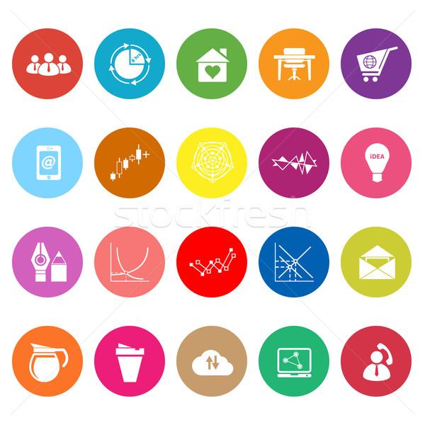 Virtual organización iconos blanco stock vector Foto stock © nalinratphi