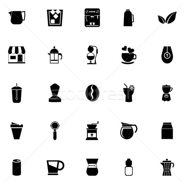 Koffie thee iconen witte voorraad vector Stockfoto © nalinratphi