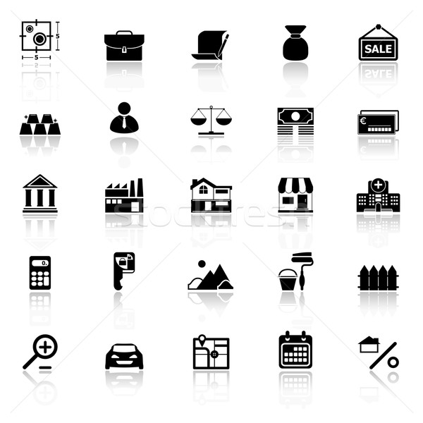 Mortgage and home loan icons with reflect on white background Stock photo © nalinratphi