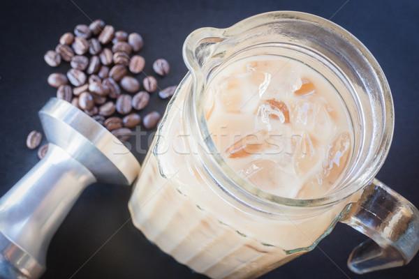 Iced coffee latte on barista work table   Stock photo © nalinratphi