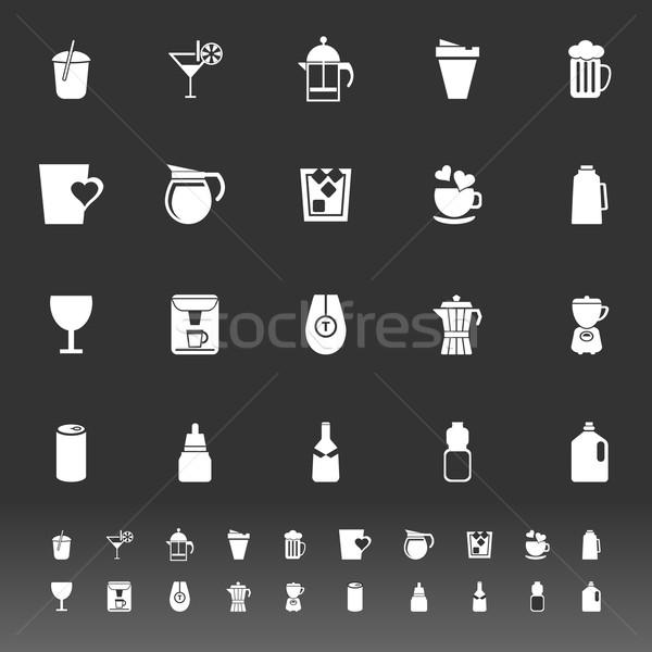 Variedad beber iconos gris stock vector Foto stock © nalinratphi