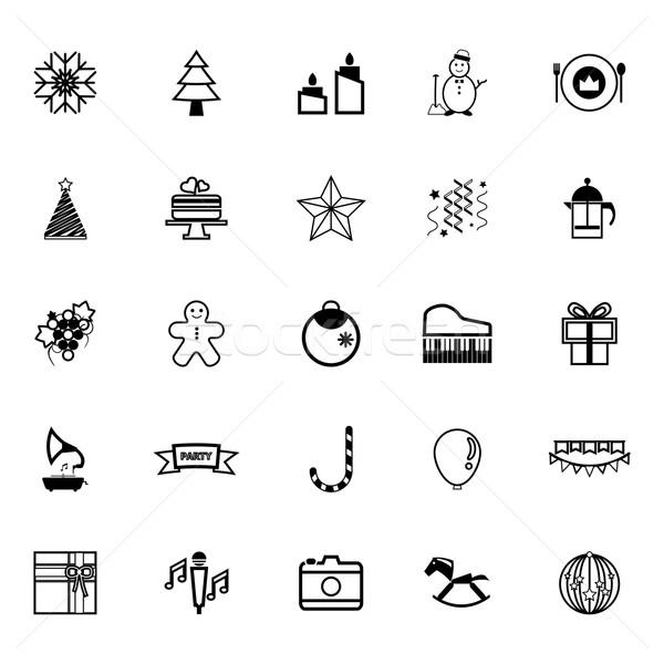 Capodanno Natale line icone bianco stock Foto d'archivio © nalinratphi