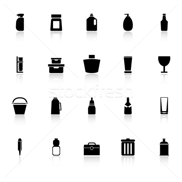 Design package icons with reflect on white background Stock photo © nalinratphi