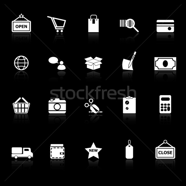 Shopping icons with reflect on black background Stock photo © nalinratphi