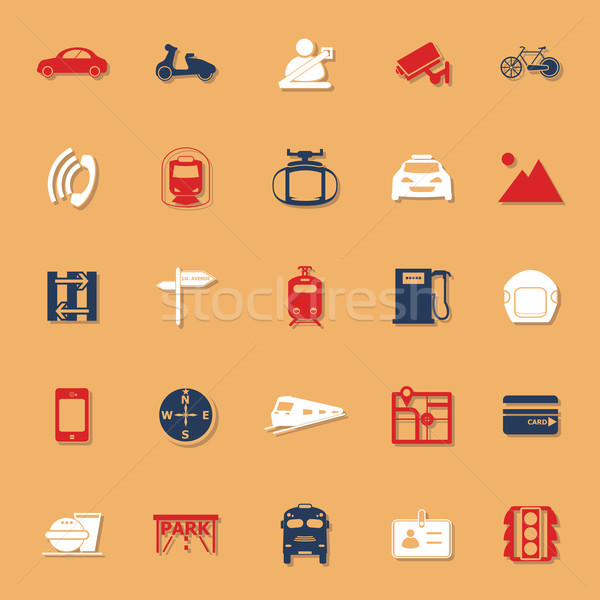 Land transport related classic color icons with shadow Stock photo © nalinratphi