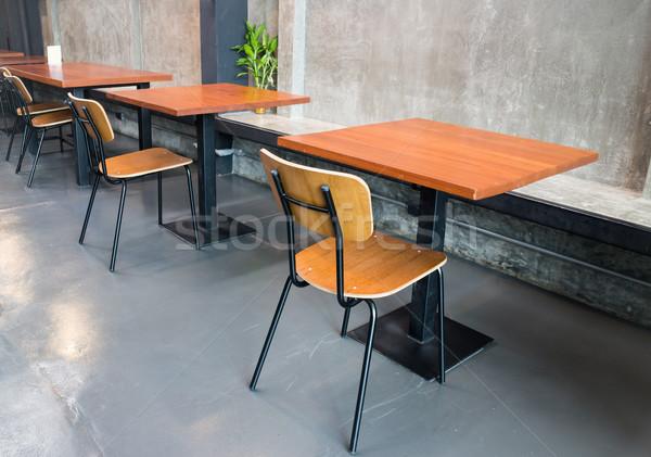 üres fa asztal szürke szoba üzlet épület Stock fotó © nalinratphi