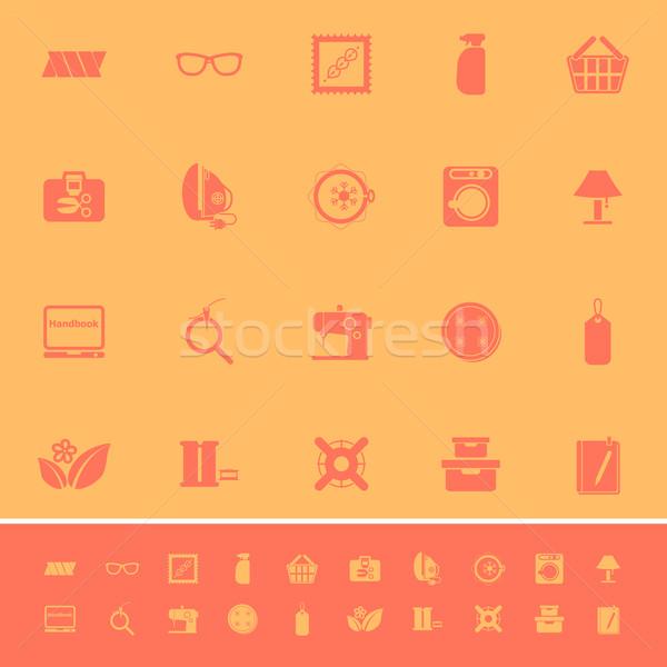 Coser tela color iconos naranja stock Foto stock © nalinratphi