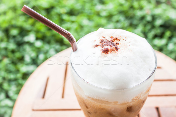 Refreshing glass of iced blended espresso with milk foam Stock photo © nalinratphi