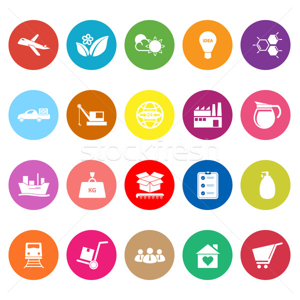 Supply Chain And Logistic Flat Icons On White Background Stock Photo C Nalinratphi