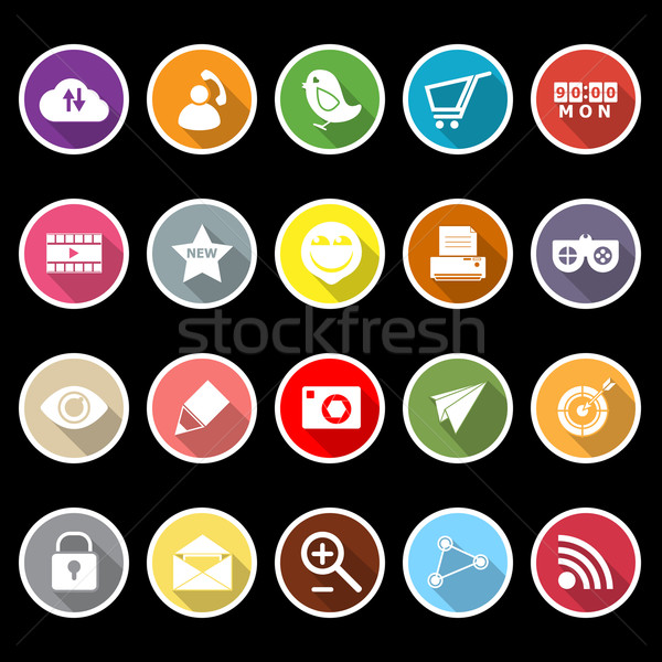 Internet useful flat icons with long shadow Stock photo © nalinratphi